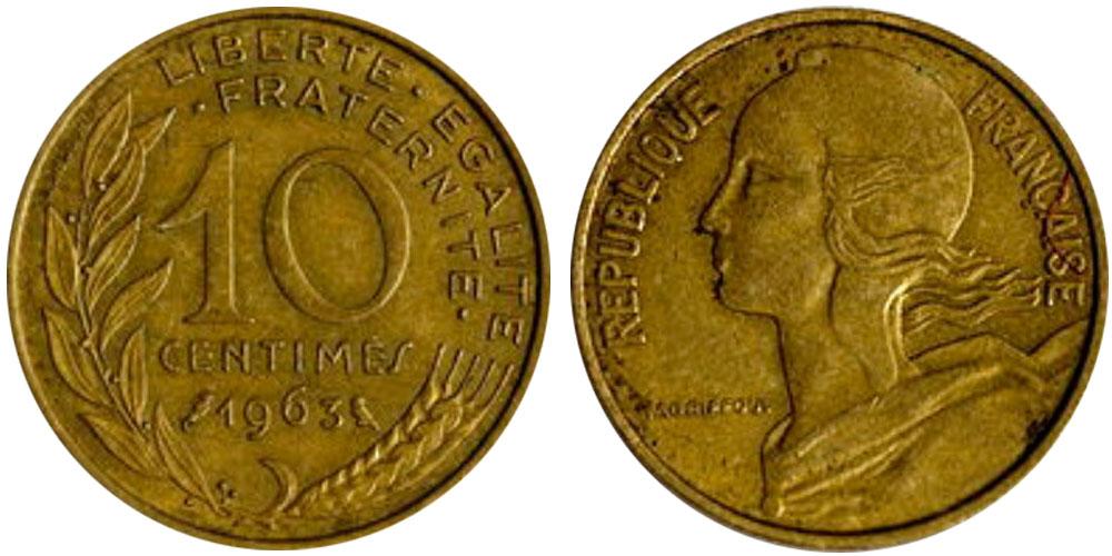 10 сантимов 1963 Франция