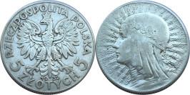 5 злотых 1932 Польша — серебро — Королева Ядвига — Без отметки монетного двора