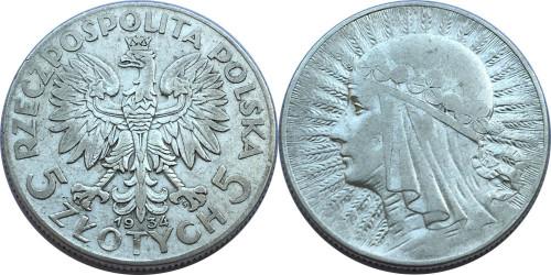 5 злотых 1934 Польша — серебро — Королева Ядвига