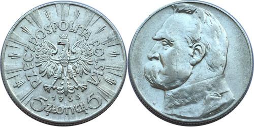 5 злотых 1935 Польша — серебро — Юзеф Пилсудский