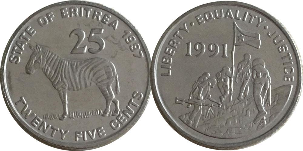 25 центов 1997 Эритрея UNC