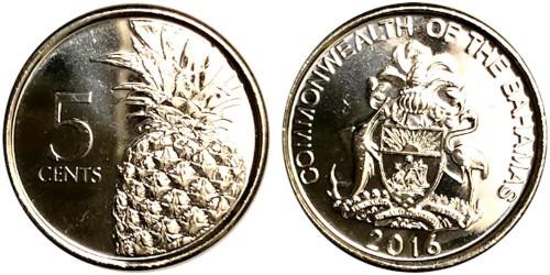 5 центов 2016 Багамские Острова UNC