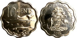 10 центов 2016 Багамские Острова UNC