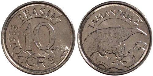 10 крузейро реал 1993 Бразилия — Муравьед UNC