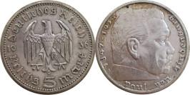 5 рейхсмарок 1936 «А» Германия — серебро — Орел без свастики
