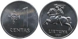 1 цент 1991 Литва UNC