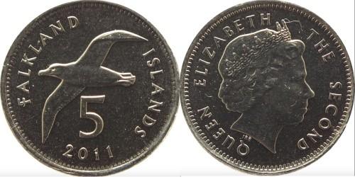 5 пенсов 2011 Фолклендские острова UNC