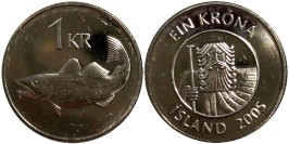 1 крона 2005 Исландия UNC