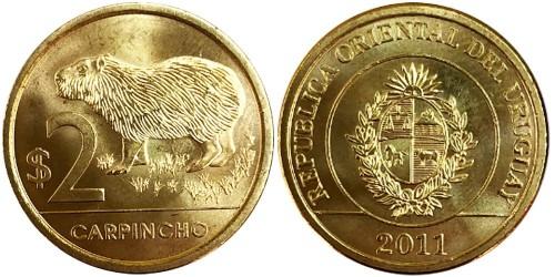 2 песо 2011 Уругвай — Капибара (водосвинка) UNC