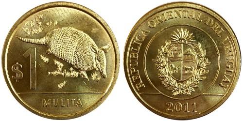 1 песо 2011 Уругвай — Девятипоясный броненосец UNC