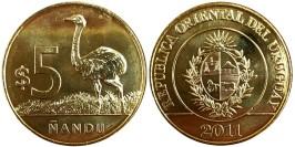 5 песо 2011 Уругвай — Американский страус Нанду UNC