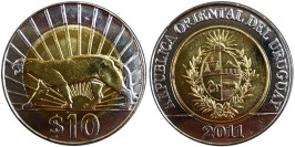 10 песо 2011 Уругвай — Пума UNC
