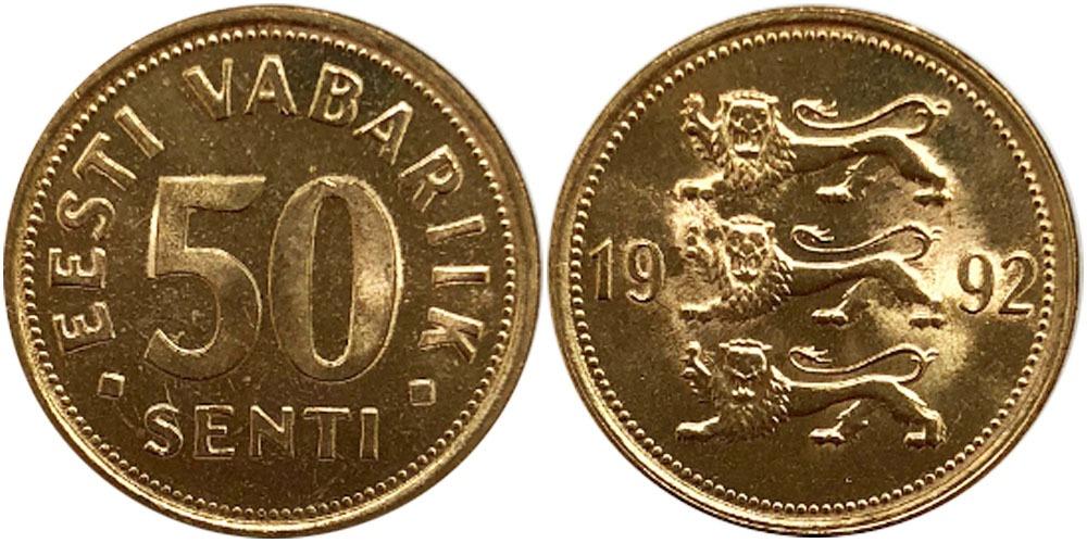 50 сентов 1992 Эстония