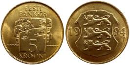 5 крон 1994 Эстония — 75 лет Банку Эстонии