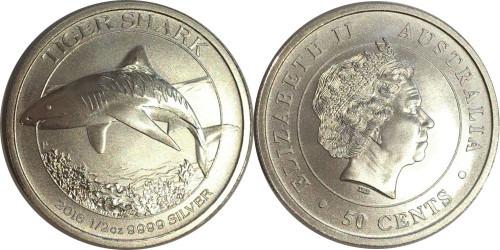50 центов 2016 Австралия — Тигровая Акула BUnc — серебро