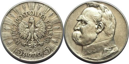 5 злотых 1935 Польша — серебро — Юзеф Пилсудский №1