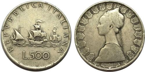 500 лир 1960 Италия — серебро