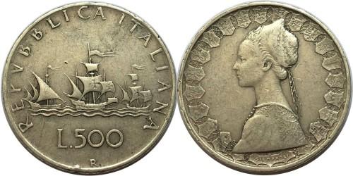 500 лир 1961 Италия — серебро