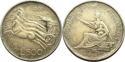500 лир 1961 Италия — серебро — 100 лет со дня объединения Италии