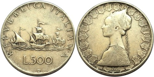 500 лир 1958 Италия — серебро №1