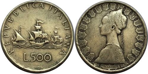500 лир 1964 Италия — серебро №1