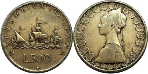 500 лир 1958 Италия — серебро №2