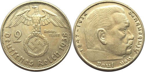 2 рейхсмарки 1938 «E» Германия — серебро №1