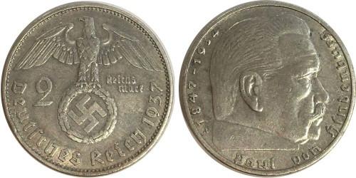 2 рейхсмарки 1937 А Германия — серебро №1