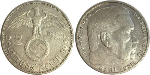 2 рейхсмарки 1937 А Германия — серебро №2