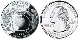 25 центов 1999 D США — Джорджия UNC