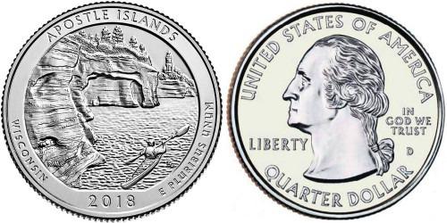 25 центов 2018 D США — Национальные озёрные побережья островов Апостол — Apostol Islands UNC
