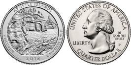 25 центов 2018 P США — Национальные озёрные побережья островов Апостол — Apostle Islands UNC