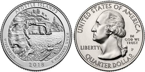 25 центов 2018 P США — Национальные озёрные побережья островов Апостол UNC