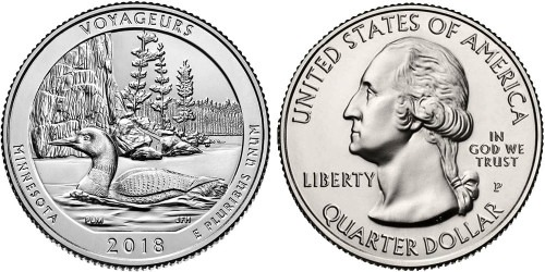 25 центов 2018 P США — Национальный парк Вояджерс UNC
