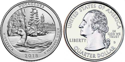 25 центов 2018 D США — Национальный парк Вояджерс UNC