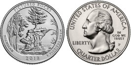 25 центов 2018 P США — Национальные озёрные побережья живописных камней UNC