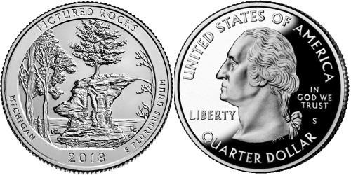 25 центов 2018 S США — Национальные озёрные побережья живописных камней UNC