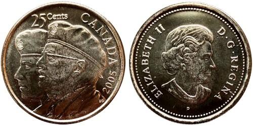 25 центов 2005 Канада — Год Ветеранов UNC