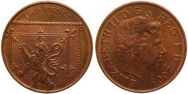 2 пенса 2008 Великобритания — Фрагмент герба британской королевской семьи