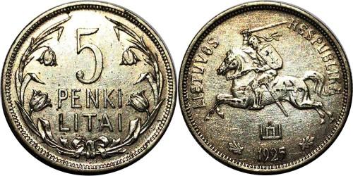 5 лит 1925 Литва — серебро
