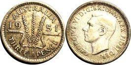 3 пенса 1951 Австралия — серебро