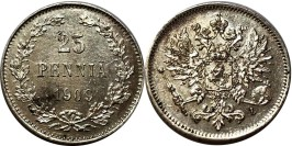 25 пенни 1909 Финляндия — серебро