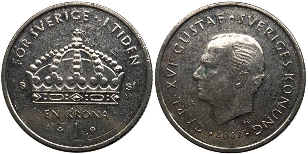 1 крона 2008 Швеция
