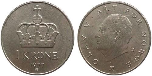 1 крона 1977 Норвегия