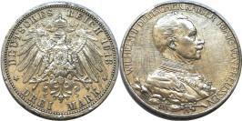 3 марки 1913 А Германская империя — Пруссия — 25 лет правлению Вильгельма II — серебро