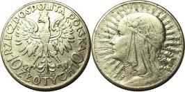 10 злотых 1932 Польша — серебро — Королева Ядвига — Без отметки монетного двора — Лондон