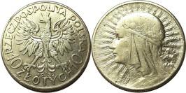 10 злотых 1932 Польша — серебро — Королева Ядвига — Без отметки монетного двора — Лондон №1