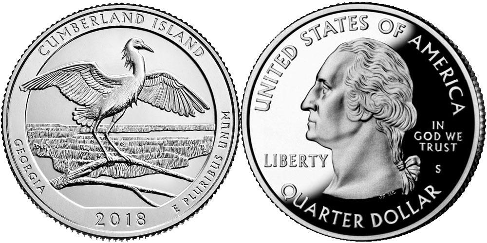 25 центов 2018 S США — Национальное побережье острова Кумберленд — Cumberland Island UNC