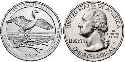 25 центов 2018 P США — Национальное побережье острова Кумберленд — Cumberland Island UNC