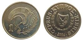 1 цент 2004 Республика Кипр UNC